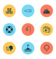 travel icons set with swimming pool binocular vector image vector image