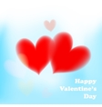 Valentines day card with soft red hearts on blue vector image