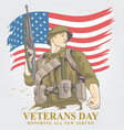 veterans day usa army 2 vector image