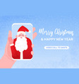 video call to santa claus merry christmas vector image