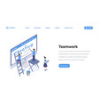 web designers teamwork isometric landing page vector image