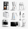 white household kitchen appliances transparent vector image