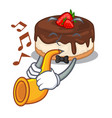 with trumpet berries cartoon cake on above table vector image vector image