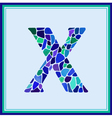 X - letter - Green Watercolor mosaic vector image vector image
