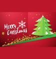 christmas tree with gold stars on red background vector image