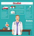 oculist and medical equipment icons vector image