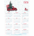 2020 calendar planner whit red christmas truck vector image vector image