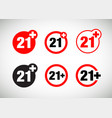 a twenty-one years over icon set vector image vector image