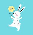 adorable white little bunny walking with spring vector image vector image