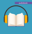 audiobook icon open book and headphones on blue vector image