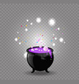 black witch cauldron with pink potion sparkles vector image vector image