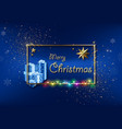 blue xmas greeting with gold frame and glitters vector image vector image