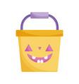 bucket pumpkin icon trick or treat happy halloween vector image vector image