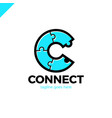 c letter icon template puzzle connectivity vector image