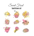 cake Set of hand drawn sweets vector image vector image