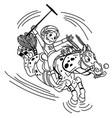 cartoon equestrian polo outline vector image