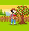 cartoon male farmer holding apple basket vector image