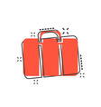 cartoon suitcase icon in comic style luggage bag vector image vector image