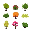 Cartoon Trees Leaves and Bushes Set vector image