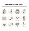 christmas decoration set menu doodle icons vector image vector image