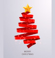 christmas tree made of red ribbon on bright vector image vector image