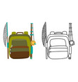 colorful camping backpack in flat design vector image vector image