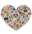 colorful hand drawn set school cartoon vector image