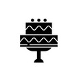 cute wedding cake black icon sign on vector image vector image