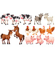 Different animals in the farm vector image vector image