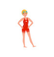 female professional swimmer in red swimsuit and vector image vector image