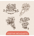 Festive holiday flower bouquets collection vector image