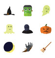 flat icon celebrate set of broom phantom tomb vector image vector image