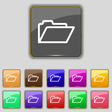 Folder icon sign Set with eleven colored buttons vector image