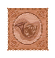 French horn and oak leaves and acorns woodcarving vector image vector image