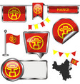 glossy icons with flag of hanoi vector image vector image