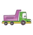 grated kawaii smile dump truck industry vector image
