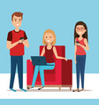 group of young people in the sofa avatars vector image