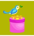 happy cute bird with christmas gifts bird with vector image