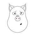 head of clueless pig in outline style kawaii vector image vector image