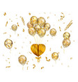 heart and balloon with stars on romantic vector image vector image