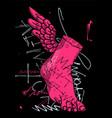 hermes foot sculpture crazy pink abstract vector image vector image