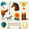 Icon set with horse equipment in flat style vector image vector image