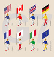 isometric people with flags of group of seven g7 vector image