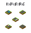 isometric road set of plash plane pedestrian and vector image vector image