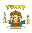 Little boy is very happy to eat delicious hamburge vector image vector image