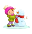 Little cute girl with snowman vector image vector image