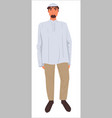 muslim man wearing modest clothes islam fashion vector image