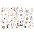 mystic line elements magic contour icons hand vector image vector image