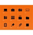Office icons on orange background vector image vector image