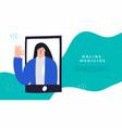 online medicine mobile app concept smiling female vector image vector image
